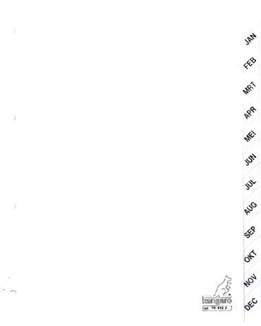 Tabbladen Kangaro 4-gaats PK412J 12-delig maandopdruk wit