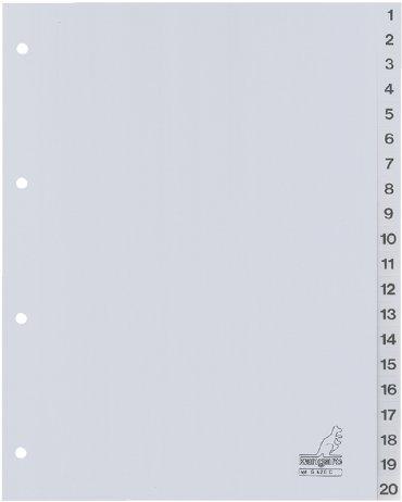 Tabbladen Kangaro 4-gaats G420C 1-20 genummerd grijs PP