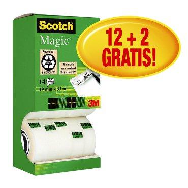 Plakband Scotch Magic 810 onzichtbaar 19mmx33m 12+2 gratis