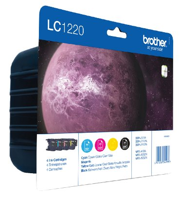 Inkcartridge Brother LC-1220VALBP zwart + 3 kleuren