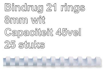 Bindrug GBC 8mm 21rings A4 wit 25stuks