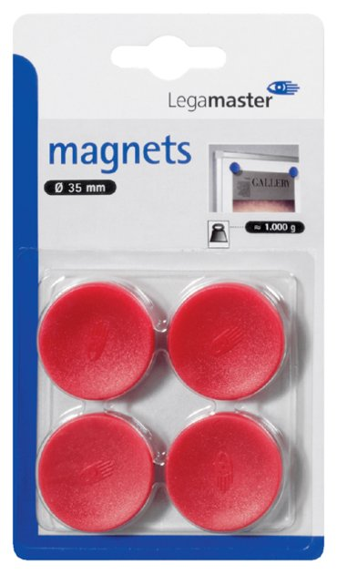 Magneet Legamaster 30mm 850gr rood 4stuks