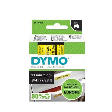 Labeltape Dymo 45808 D1 720880 19mmx7m zwart op geel