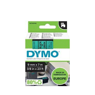 Labeltape Dymo 40919 D1 720740 9mmx7m zwart op groen