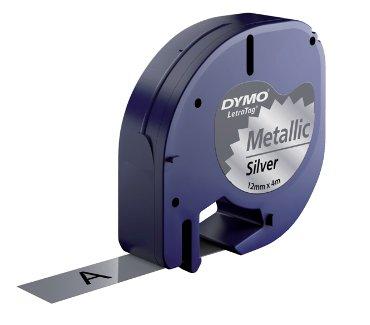 Labeltape Dymo Letratag 91208 metallic 12mm zwart op zilve