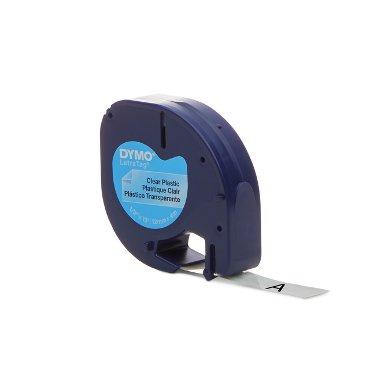 Labeltape Dymo Letratag 12267 plastic 12mm zwart op transp
