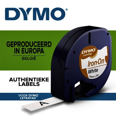 Labeltape Dymo Letratag 18769 strijkbaar 12mm zwart op wit