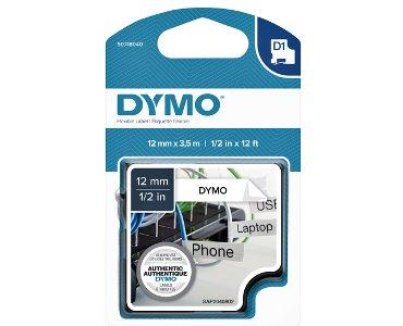 Labeltape Dymo 16953 D1 718040 12mmx3.5m nylon zwart op wit