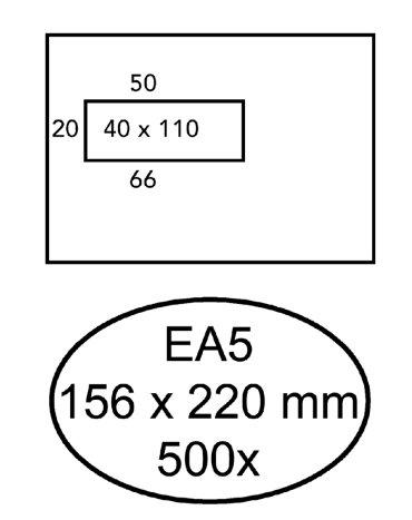 Envelop Hermes EA5 156x220mm venster 4X11links 500stuks