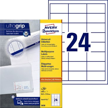Etiket Avery Zweckform 3658 64.6x33.8mm wit 2400stuks