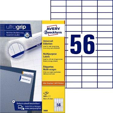 Etiket Avery Zweckform 3668 52.5x21.2mm wit 5600stuks