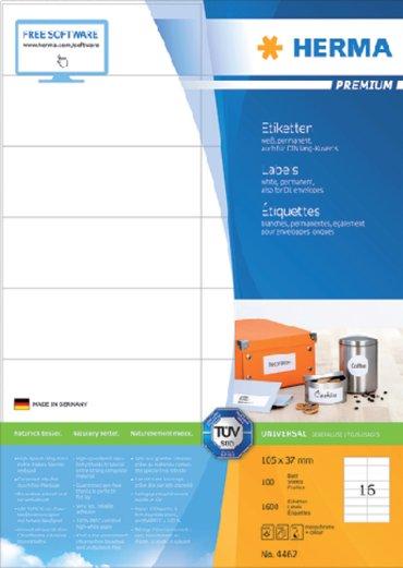 Etiket Herma 4462 105x37mm premium wit 1600stuks