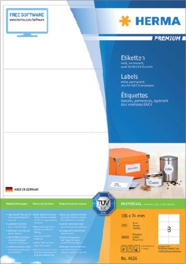 Etiket Herma 4626 105x74mm premium wit 1600stuks