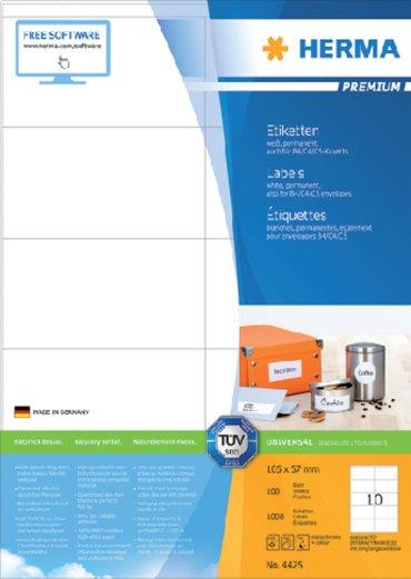 Etiket Herma 4425 105x57mm premium wit 1000stuks