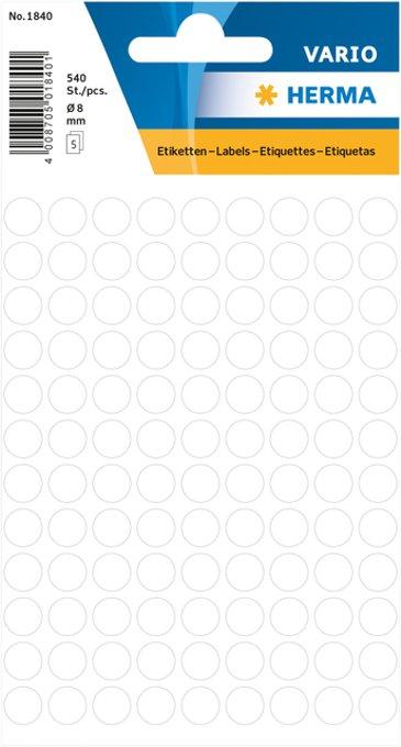 Etiket Herma 1840 rond 8mm wit 540stuks