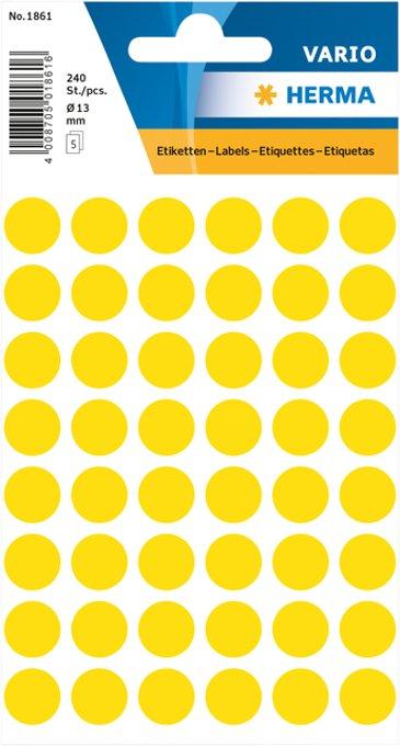 Etiket Herma 1861 rond 12mm geel 240stuks