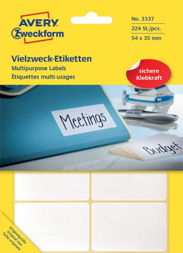 Etiket Avery Zweckform 3337 54x35mm wit 224stuks