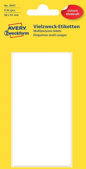 Etiket Avery Zweckform 3047 98x51mm wit 6stuks
