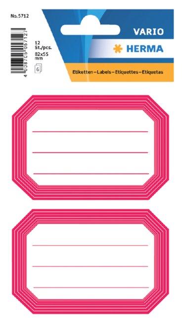 Etiket Herma 5712 82x55mm schrift rode rand 12stuks
