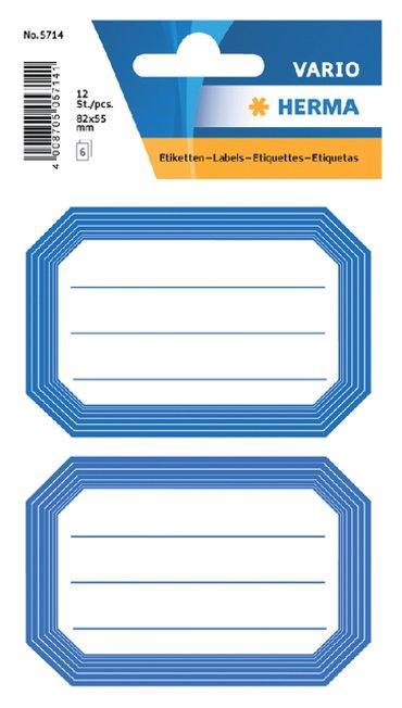 Etiket Herma 5714 82x55mm schrift blauwe rand 12stuks