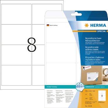 Etiket Herma 10018 99.1x67.7mm verwijderbaar wit 200stuks