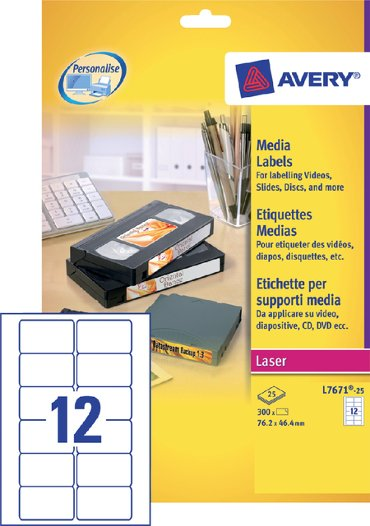 Etiket Avery L7671-25 76.2x46.4mm video bovenzijde 300stuks