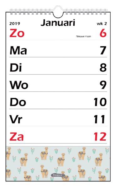 Weekkalender 2019 XL Foqus alpaca