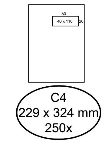 Envelop Quantore 229x324mm venster 4x11cm rechts zelfkl 250