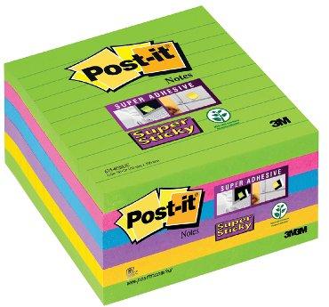 Memoblok 3M Post-it 675 Super Sticky 101x101mm lijn ultra assorti