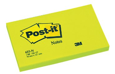 Memoblok 3M Post-it 655-NGR 76x127mm neon groen