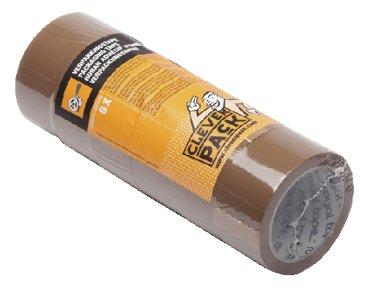 Verpakkingstape CleverPack 50mmx66m bruin PP