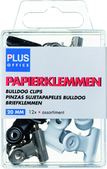 Papierklem bulldog Plus Office blister 20mm assorti