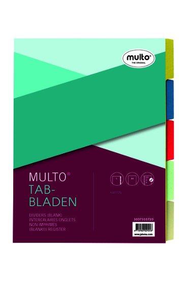 Tabbladen Multo A4 23R karton 5-delig assorti
