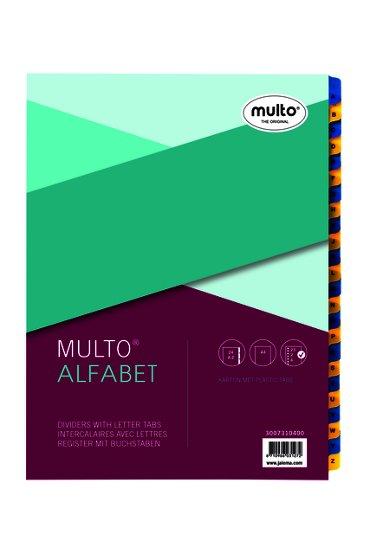 Tabbladen Multo A4 23-rings 24-delig A-Z blauw/geel karton 170gr