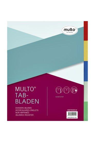 Tabbladen Multo A4 23-gaats 5-delig PP assorti
