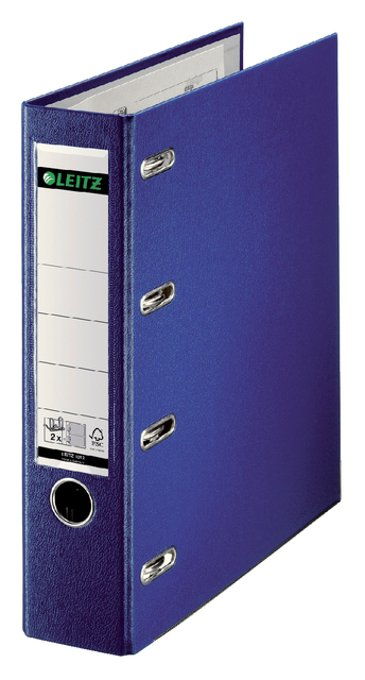 Ordner Bank Leitz 1012 A4 75mm PP 2 mechanieken blauw
