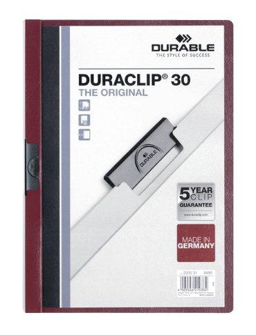 Klemmap Durable Duraclip A4 3mm 30 vellen aubergine