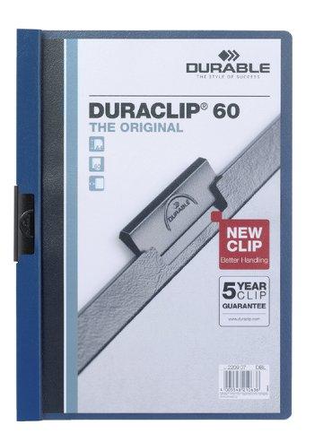 Klemmap Durable Duraclip A4 6mm 60 vellen donkerblauw