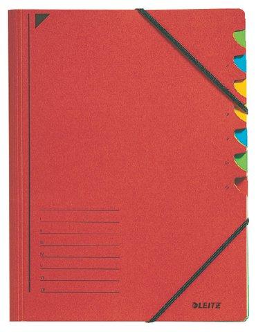 Sorteermap Leitz 7 tabbladen karton rood