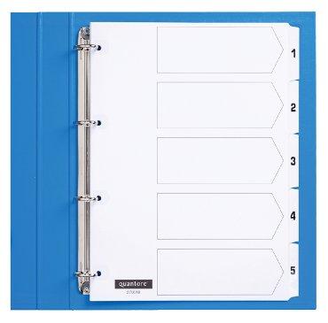 Tabbladen Quantore 4-gaats 1-5 genummerd wit karton