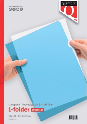 Insteekmap L-model Quantore A4 PP 0.12mm blauw 25 stuks