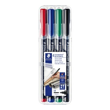 Viltstift Staedtler Lumocolor 317 permanent M set à 3 +1 stuk gratis