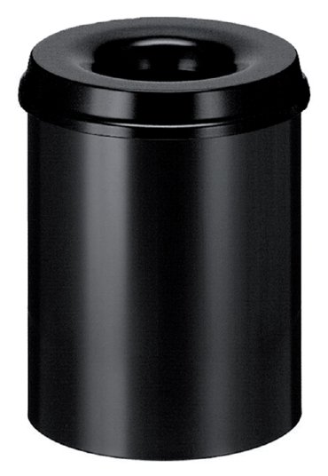 Papierbak met vlamdover Vepabins 15liter 25.5cm zwart