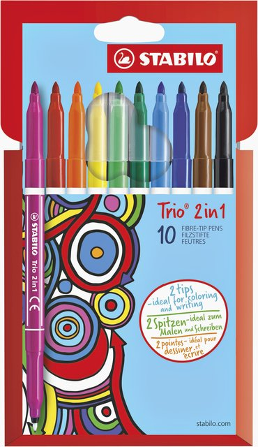 Viltstift Stabilo Trio non perm. 2 in 1 223/10stuks assorti