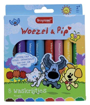 Waskrijt Bruynzeel Woezel & Pip set à 8 kleuren
