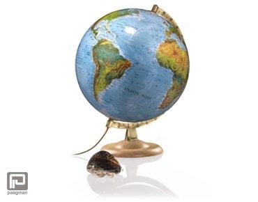 Atmosphere globe, diameter 30 cm., uitvoering blauwe oceanen en beuken voet, verlicht (B4)