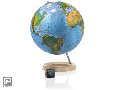 Atmosphere globe, diameter 30 cm, blauwe oceanen, esdoorn voet en rvs merdiaan, niet verlicht (FC2)