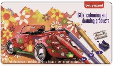 Kleurpotloden Bruynzeel Super Sixties kever in blik 60stuks