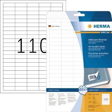 Etiket Herma 4210 38.1x12.7mm verwijderbaar wit 2750stuks