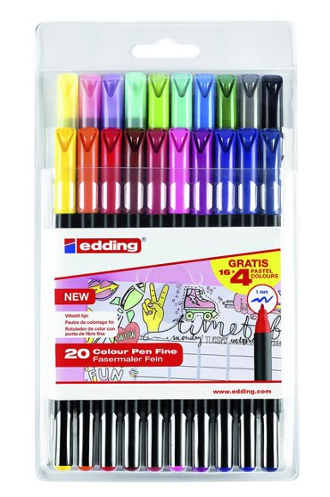 Fineliner edding 1200 assorti 1mm set à 20 stuks